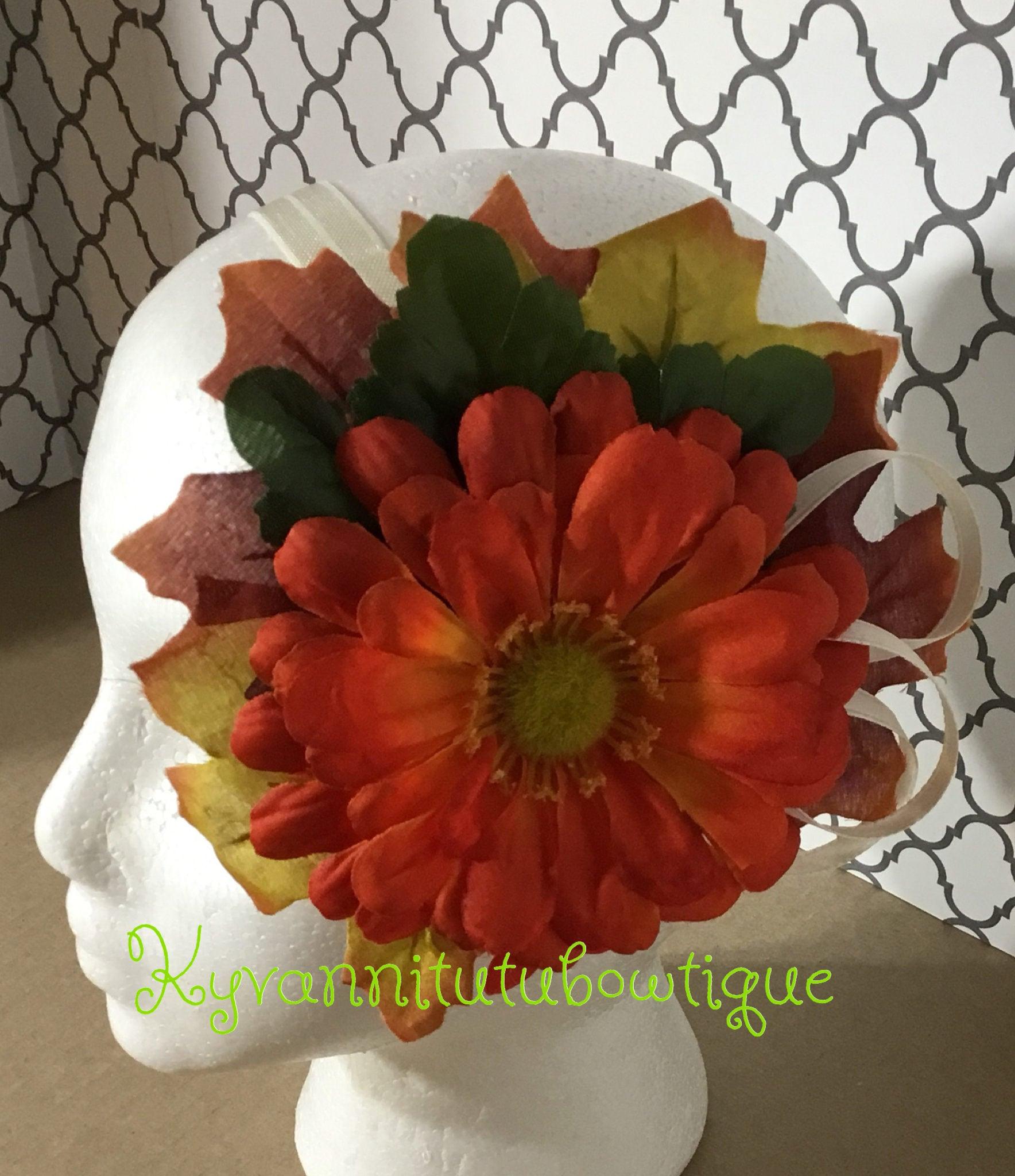 Autumn Silk Daisy Flower Orange Daisy Silk Hairbow Orange Silk
