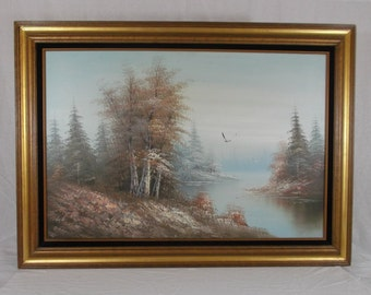 Vintage Framed Oil Painting On Canvas Forest Stream Scene Signed by Artist R. Wand