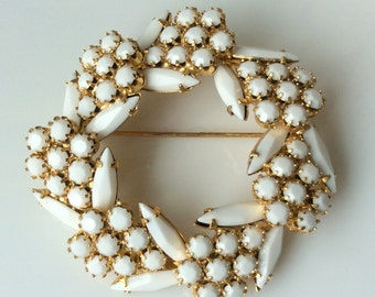 Juliana White Glass Brooch - DeLizza and Elster Book Piece