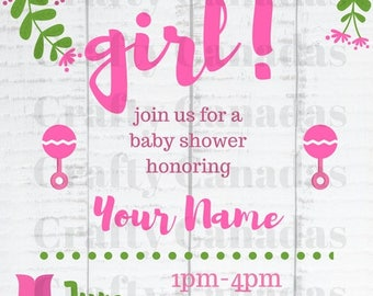 Girl Floral Baby Shower Invite, Download, Printable with your information