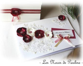 Wedding guestbook Burgundy and ivory flowers and lace GM Photo Album personalized