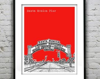 20% OFF Memorial Day Sale - Santa Monica Pier California Poster Art Skyline Print Version 2