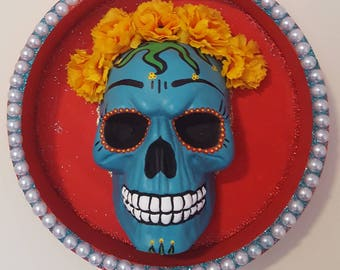 Day of the dead skeleton Catrina skull wall decor