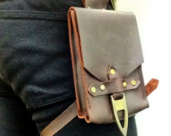 Hip Pouch -Solid Leather - Burgundy