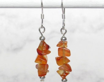Carnelian Nugget Chip Dangle Earrings, Sterling Silver Beads, Sterling Silver Earwires - Metaphysical Jewelry