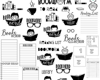 Planner Bookworm digital brushes + png, .abr, clip art, digital stamps, graphics, INSTANT DOWNLOAD, photoshop brushes, CU, reading, stickers