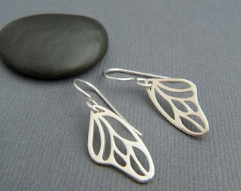 sterling silver butterfly wing earrings simple nature jewelry small leverback lever back dangle modern wing hook drop gardener gift for her.