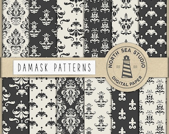 Damask Digital Paper, Black And White Damask Backgrounds, Elegant Damask Patterns, For Scrapbooking, Invites, Cards, Coupon Code: BUY5FOR8