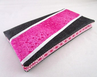 Faux leather swarosky carbon checkbook and fuchsia fabric