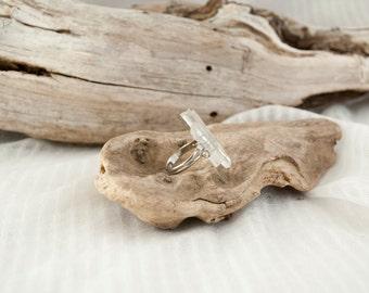 Crystal quartz ring, Raw crystal ring,Adjustable quartz ring, Bohemian crystal ring, Ethnic quartz ring, Irregular quartz ring, Clear quartz