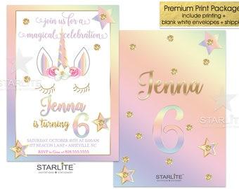 Unicorn Birthday Party Invitation, Unicorn Birthday Invitation Girl, Rainbow Birthday Invite Printable, Stars Gold Glitter, ANY AGE, Printed