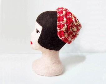 1960s vintage red gold white knit facinator chapeaux topper velvet lining hat