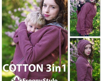 Best 3in1 Babywearing coat, baby wearing jacket, baby carrier cover, cotton, Front/Back kangaroo hoodie, S-2XL, pink, plus size, maternity