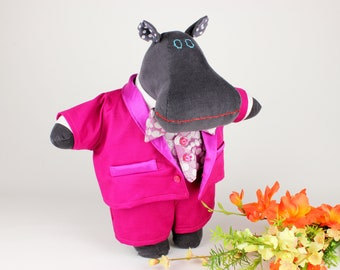 Hippo soft doll in three-piece pink tuxedo - Unique fabric animal doll - I want a hippopotamus for Christmas