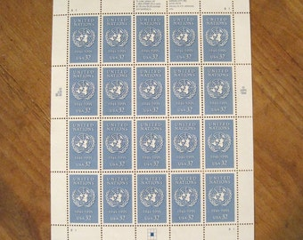 50th Anniversary Sheet of 20 Unused 1995 United Nations USPS Postage Stamps