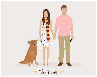 Custom Family Portrait, couple portrait