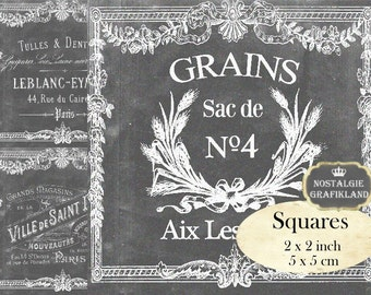 Chalkboard printable French Logo Shabby Chic printable 2 x 2 inch squares Instant Download digital collage sheet TW138