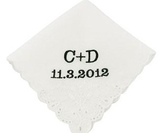 Block Monogram Wedding Handkerchief - CH2014