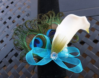 Calla lily wrist corsage with pearl bracelet, Customize calla lily and ribbon colors