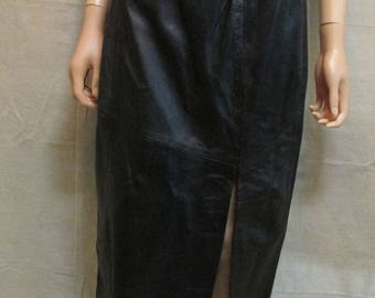 """Vintage 1980's-90's Voyageur Black Leather Maxi Pencil Skirt With Thigh High Slit Size XS 26"""" Waist"""
