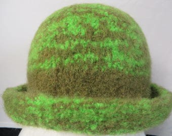Hat Wool Felted Moja Green with Rolled Brim