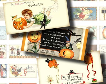 Vintage Halloween (2) Digital Collage Sheet with 30 Horizontal Domino 1x2 inch - Trick or treat & black cats from old postcards