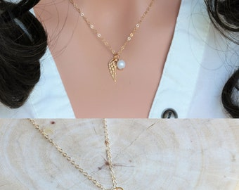 Confirmation gifts for girls - Angel Wing necklace - Feather NEcklace - Confirmation sponsor Gifts - Gold Feather Necklace  Wing Necklace