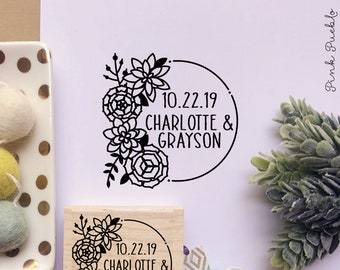 Save the Date Stamp, Rustic Wedding Stamp, Save the Date Stamp Wreath