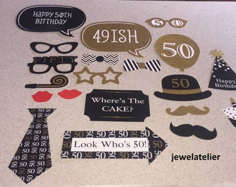 50th birthday Photo Booth Props 20 Piece Set - Party Photo Props - birthday Party Favor,50th props , 50th birthday props