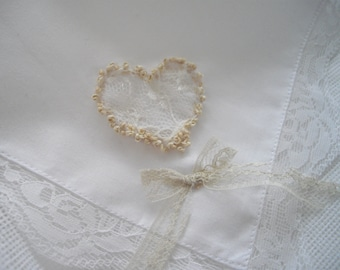 Ivory Lace Heart Handkerchief Silk Embroidered With Lace Trim Lace Heart Inset Wedding Bridal Shower Gift Mother of the Bride Handmade