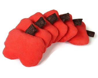 Coral Pumpkin Bean Bags with Chocolate Brown Stems (Set of 6) Autumn Shaped 3 inch Kids Toss Toy Corduroy -- US Shipping Included