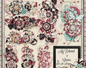 On Sale 50% My Beloved Digital Scrapbook Kit Clusters - Digital Scrapbooking