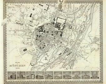 Antique map of Munchen, 1844, Deutschland,Germany,old map,art deco, vintage decor, fine art print