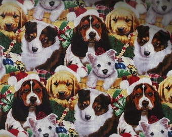 Holiday Winter Christmas Dog Fabric, Quilt or Craft Cotton Fabric