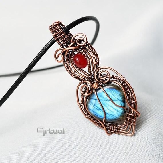 Wire wrapped jewelry Labradorite pendant copper wire