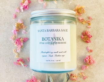 Pink Lotus & Tuberose Soy Candle by Santa Barbara Aromatics | Gift for Women | Gift for Mom | Essential Oil Candles | Bridesmaid Gift