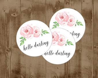 """60 PRINTED Wedding Welcome Tags - Pink Blush Flowers Roses - 2.25"""" circle tags"""