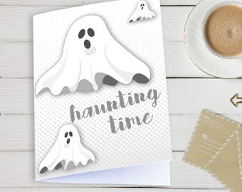 Halloween card, Haunting time, Ghost card, Printable Card, Instant download, Seasonal