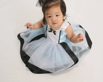 Alice in Wonderland Tutu Dress: blue with white apron & black trim, birthday party, halloween costume, special occasion, meet and greet trip
