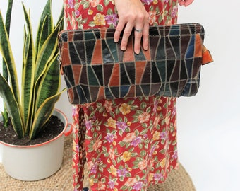 Brown Leather Patchwork Clutch Bag