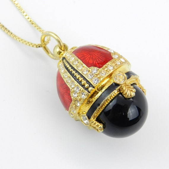 """18K Yellow Gold over Sterling Silver Red Enamel and Black Onyx Swarovski Crystal Pendant with Chain 18"""" Faberge Style Egg"""