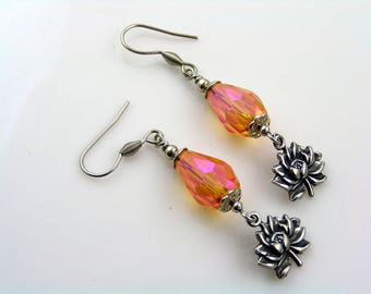 Lotus Earrings, Lotus Flower Jewelry, Lotus Charm Earrings, Lotus Jewelry, Crystal Earrings, Stainless Steel Jewelry, E1665