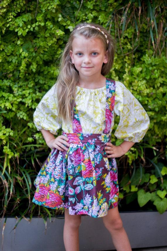 Girls Floral Suspender Skirt – Suspender Skirt – Fall Boutique Skirt – Gold Floral Outfit - Suspender Skirt Set