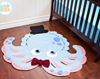CROCHET PATTERN Inky the Octopus Animal Rug PDF Crochet Pattern with Instant Download