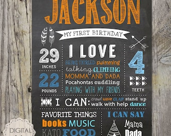 Baby first birthday chalkboard sign - Tribal First Birthday Chalkboard poster - Arrows Indians Orange Blue Boy Birthday sign - DIGITAL FILE!