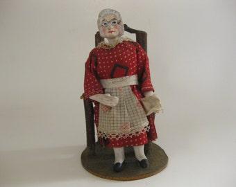 Vintage Folk Art Lady Nodder Bobblehead Primitive Pin with Post