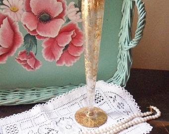 RansGil Crystal Bud Vase, 22K Gold Floral Overlay, Tall Gold Vase