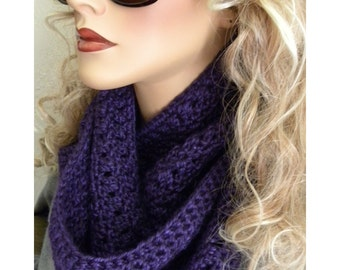 Royal Purple Infinity Scarf,  Hand Crocheted Accessory, soft acrylic yarn, Long Infinity scarf, Royal purple, Christmas gift idea for women