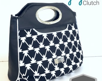 Large ladies clutch styled bag in black and white, handbag, evening bag