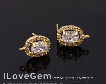 SALE/10pcs// NP-1565, Gold plated, Oval Cubic Earrings, Small cz embedded around main Cubic stone, 925 sterling silver post, Wedding